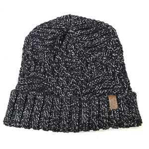 Roots Gray and Black Cable Knit Beanie